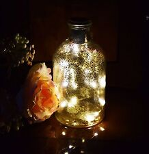 Gold Effect Mercury Glass Lights complete with warm white LED Light Bottle Shape