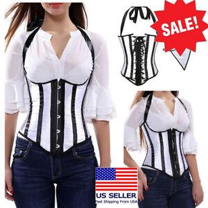Costume Black/White Vertical Stripes Halter Top Underbust Waist Cincher Corset