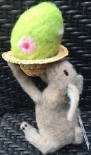 NWT Felted white and gray Easter bunny with Egg In Straw Hat