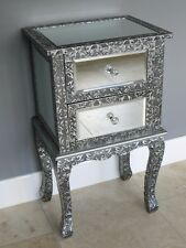 BLACK SILVER EMBOSSED MIRRORED BEDSIDE CABINET LAMP TABLE  BEDROOM CABINET