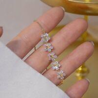 2021 Gold Zircon Rhinestone Flower Bracelet Adjustable Bangle Women Jewelry Hot