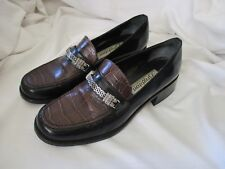 Brighton brown croc black slip on loafers Dawn 6.5 M leather Italy