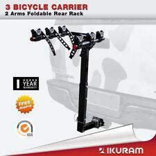 "iKuram 3 Bicycle Car Bike Carrier Rack 2""Inch Hitch Mount 2 Arms Foldable Rear"