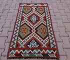Vintage Cappadocia Handmade Kilim Rug Turkish Tribal Embroidered Carpet 3x4 ft