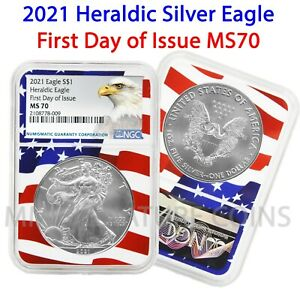2021 $1 Heraldic American Silver Eagle NGC MS70 First Day of Issue Flag Core
