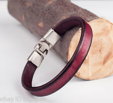 Men's Charm Cool Single Band Genuine Leather Wrap Bracelet Wristband For Women