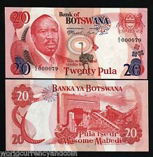 BOTSWANA 20 PULA P5 B 1976 LOW SERIAL # BIRD UNC RARE MONEY ANIMAL BILL BANKNOTE