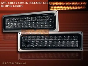 88-98 GMC CHEVY C/K 1500/2500/3500 PICKUP LED PARKING SIGNAL BUMPER LIGHTS SMOKE