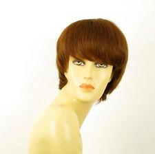 perruque femme 100% cheveux naturel châtain clair cuivré ref LALIE 30
