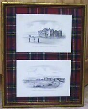 RARE PAIR PENCIL ETCHING DRAWING ST ANDREWS ROYAL ANCIENT GOLF CLUB HOUSE SIGNED