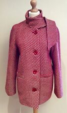 WINDSMOOR RED CREAM STRIPE COAT SIZE 12 100% WOOL