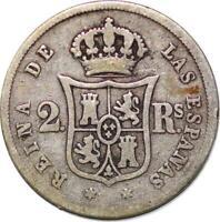 P3110 Spanien 2 Reales Isabel II 1852 silber -> Angebot M