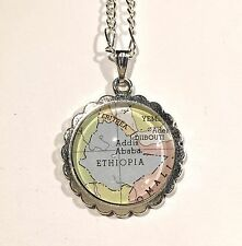 ADDIS ADABA ETHIOPIA DJIBOUTI ERITREA AFRICA Map Pendant necklace ATLAS