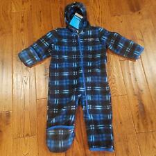 Columbia Boys 12-18 Months Fireside Cuddle Bunting Fleece Suit Blue/black Plaid