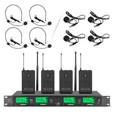 4 Channel Pro Audio UHF Wireless Microphone System 4 Lavalier 4 Headset Bodypack