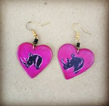 Heart-Shaped Soapstone Earrings Rhino Etching Dark Pink & Maasai Beads Kenya