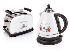 Frühstücks Küchen Set 2 tlg. Edelstahl Wasserkocher 2-Scheiben Toaster Cartoon