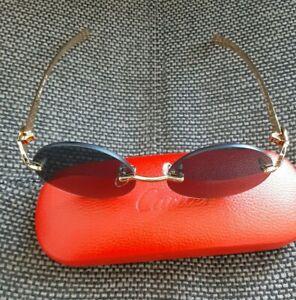 Authentic Cartier Sunglasses Black Round 55mm