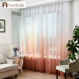 NAPEARL 1 Panel Decor Tulle Curtains Living Room Pull Pleated Tape Sheer Drapes
