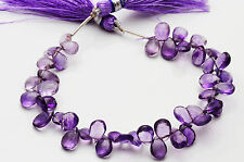 NATURAL SUPER AFRICAN AMETHYST-  FACETED DARK PEAR SHAPE BEADS  7 TO 9 MM 6""