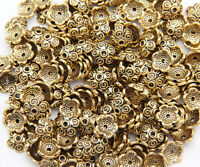 50pcs 10mm Antique Gold Bead Caps Metal Loose Spacer Beads Jewelry Making Crafts
