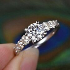 Engagement Ring 14K Gold Promise Ring 2.0Ct Brilliant Cut White Moissanite Ring