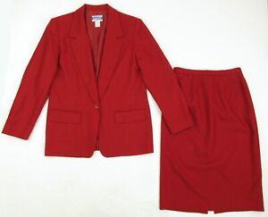 Vintage 90's Pendleton 100% Wool Red Skirt Suit Size 6 Jacket Size 8 Skirt MINT!