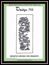 CHRISTMAS Crochet Pattern Tree ORNAMENTS Vtg Design 755 SANTA Head, Doll, more