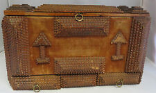 Antique wood Carved velour Folk Art Sewing Box Black Forest Gothic 2 drawers