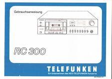 Telefunken Bedienungsanleitung user manual für RC 300 deutsch