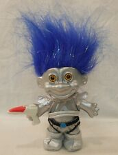 "My Lucky Silver Space Martian Russ Troll Doll Blue Metallic Hair Alien 5"" Gun"
