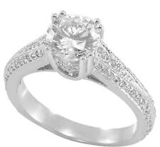Ring 10K White Gold, size 7.25 2.00ct Tw Brilliant Cut pave Zirconia Engagement