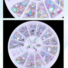 Fashion 2Size Multicolor AB Crystals Nail Art Decoration Glitter Rhinestones DIY