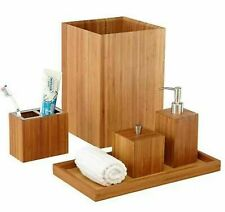 Bamboo 5 Piece Bathroom Essentials Set Bath Vanity Room Organizer Accessories
