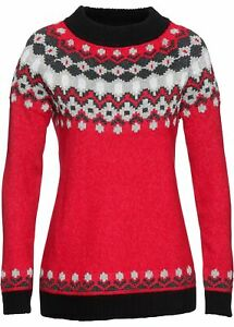 Norweger Pullover 36 38 rot schwarz Glitzer Winter Grobstrick Flausch Pulli neu