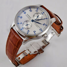 Parnis 43mm silver white dial blue marks Power reserve seagull automatic watch