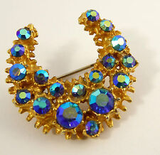 Vintage Art Deco Costume Jewellery Brooch with Blue Iridescence Paste Set LAYBY