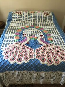 """Vtg Chenille Bedspread Plush Thick Dense Bright  Double Peacock VGC 90""""x 100"""""""