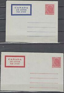 Canada, Air Letter (Aerogrammes) George V  X 2 .....SE21-05