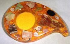 """Vintage Resin Ashtray Retro 1960s Orange Agate Kitsch 8""""  #1119"""