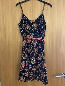 Ladies Oasis Black Floral Summer Sun Dress. Size 8