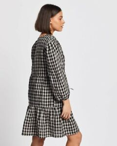 AERE LINEN SMOCK DRESS CHECK SIZE 14 NEW RRP $139.00