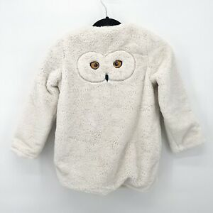 MINI BODEN Girl's Youth Harry Potter Hedwig Owl White Fuzzy Jacket Sz 7-8y