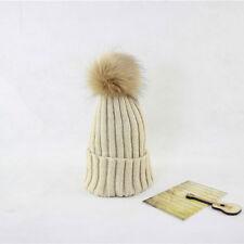 Women Winter Knit Crochet Hat with Fur Ball Beanie Beret Warm Ski Ball Cap Baggy