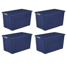 Plastic Storage Bin Tote Stacker 45 Gallon Capacity Home Organizer 4 Pack Blue