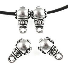 Silver Lotus Guru Bead with Bail Loop, TierraCast Leather Bail (4 Pieces)
