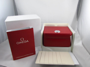 Omega SpeedMaster Watch Box Genuine Red Leather Case Outer Inner And Booklet Set