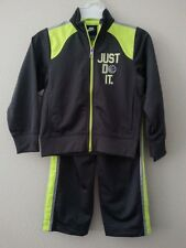 NIKE Boys 2 Piece Tracksuit JUST DO IT Size 4 Jacket Pants Set Gray NWT
