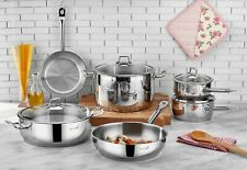 Saflon Stainless Steel Tri-Ply Bottom 10 Piece Cookware Set Induction Ready