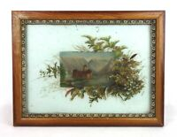 Antique 19th Century Oil Painting on Glass Castle Landscape Scene Signed Listed